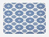 Ambesonne Vintage Bath Mat, French Country Style Floral Circular Pattern Lace Ornamental Snowflake Design Print, Plush Bathroom Decor Mat with Non Slip Backing, 29.5 W X 17.5 W Inches, Blue White