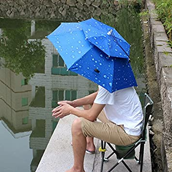 Paraguas Sombrero Resistente al Viento Diseño único del Bilayer para Pesca Senderismo (Azul)