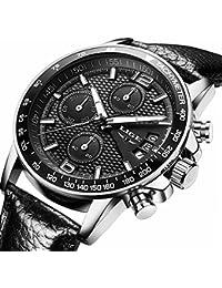 Mens Watches Luxury Quartz Watch Mens Hour Date Clock Leather Strap Fashion Casual Watch Men Military Wrist Watch...