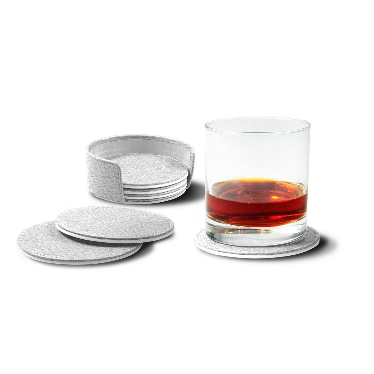 Lucrin - Set of 6 Round Real Leather Coasters with Coaster Holder - White - Granulated Leather
