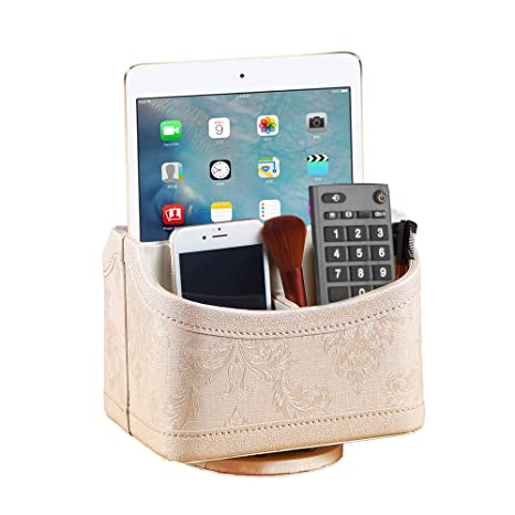 e64e73271f Remote Control Holder 360 Degrees Rotatable Desk Stationery Supply Organizer  PU Leather Desktop Storage Box for