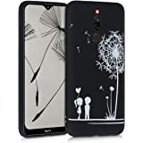 kwmobile TPU Silicone Case Compatible with Xiaomi Redmi 8 - Soft Flexible Shock Absorbent Protective Phone Cover - Dandelion Love White/Black