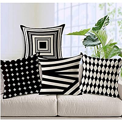 "WOMHOPE 4 Pcs - 18"" Vintage Style Cotton Linen Square Throw Pillow Case Decorative Cushion Cover Pillowcase Cushion Case for Sofa,Bed,Chair,Auto Seat"