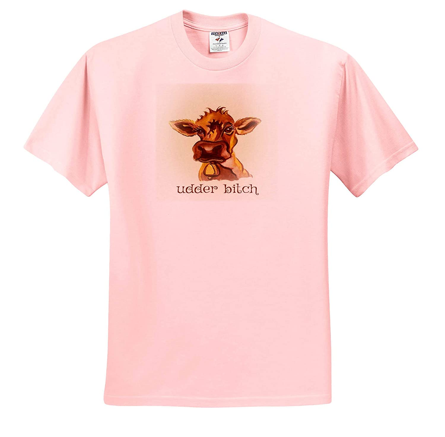 A Funny Cartoon of a Cow with Typography - T-Shirts 3dRose Art by Mandy Joy Watercolor Illustrations
