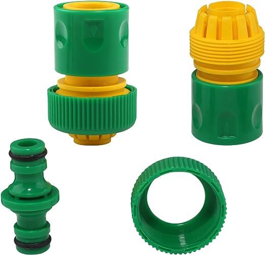 Manguera Tubo Conector Joiner plástico Herramientas de jardín, lavado agua manguera de riego rápido conectores adaptador [2 pcs] & 1/2 de doble macho conector Joiner Aire Agua divisor [1 pc]: Amazon.es: Jardín