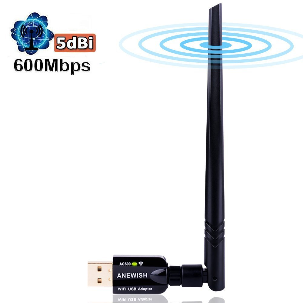 ANEWISH Wifi Adapter AC600mbps Dual Band Wireless Network Adapter(5 8GHz  433Mbps / 2 4GHz 150Mbps) with 5DBI Antenna Usb 3 0 Wireless Adapter  Support
