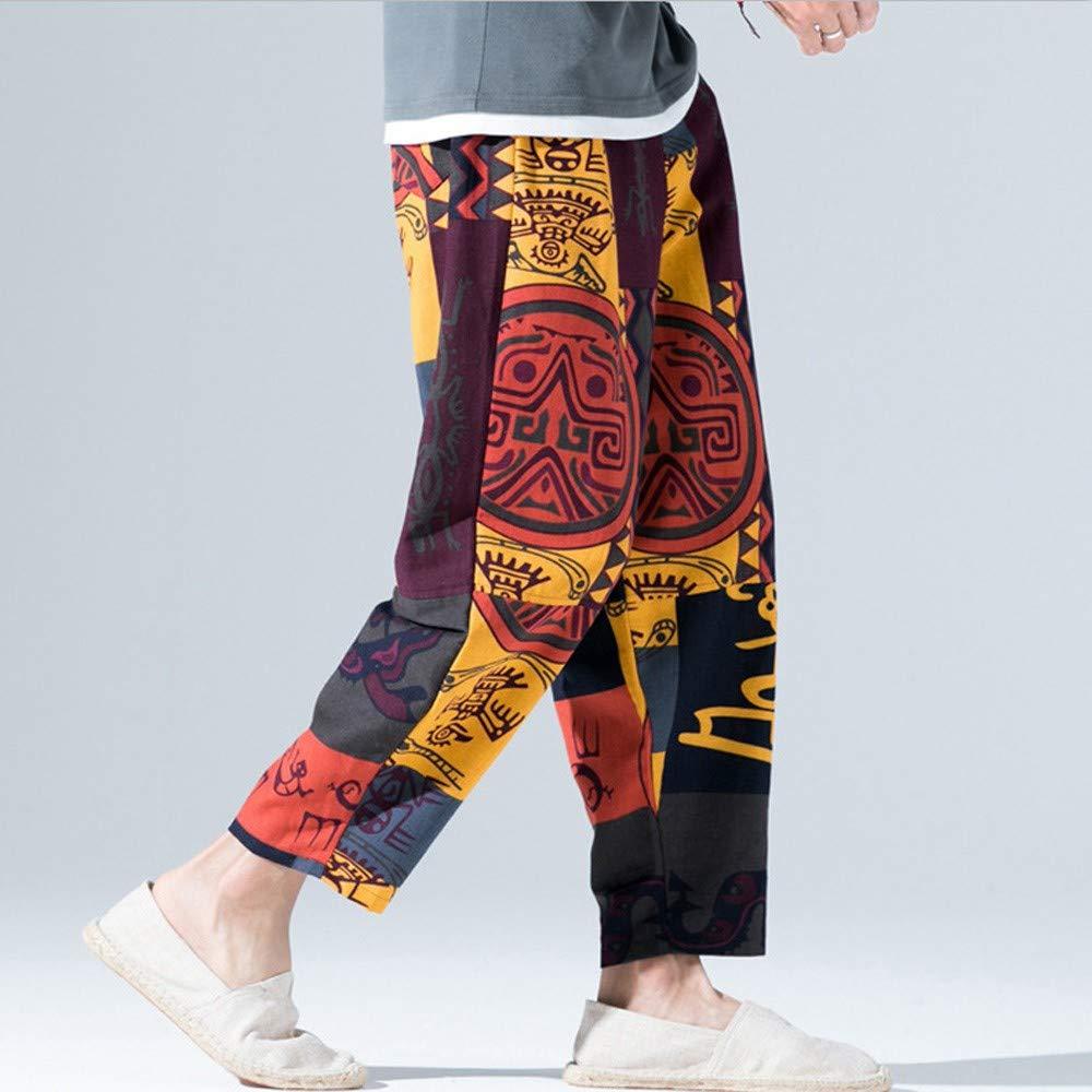 5b265fb1a7 Ode-Joy Pantaloni Harem da Uomo Cotton Linen Festival Baggy Boho zingara  retrò-Pantaloni Aladino pantaoni Harem Great Comfort Yoga, Hippy per e  Donna ...