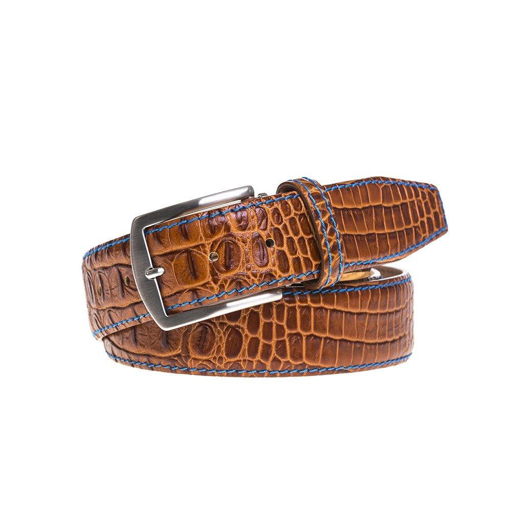 Cognac Italian Mock Croc Leather Belt by Roger Ximenez: Bespoke Maker of Fine Leather Goods