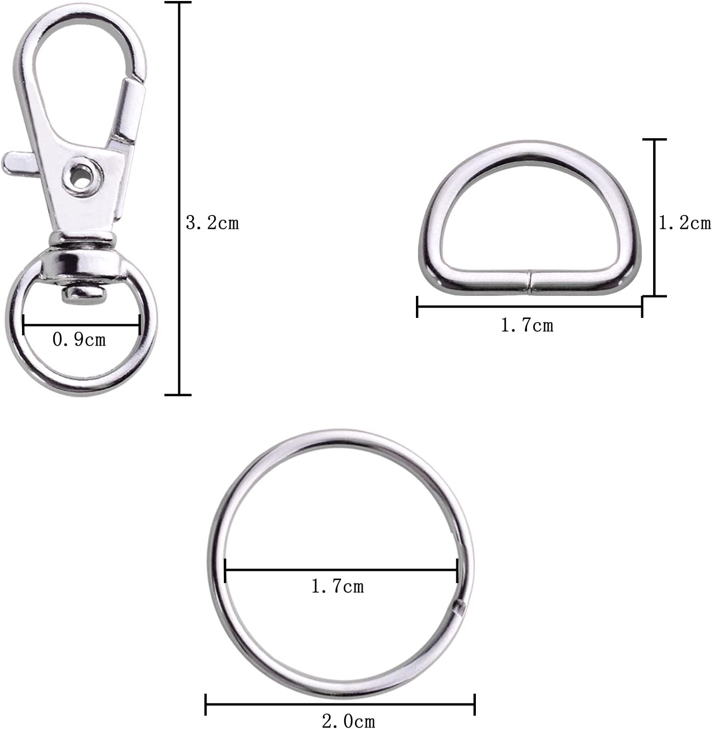 BronaGrand 50 Pieces Metal Swivel Clasps Lanyard Snap Hook Lobster Claw Clasp and Key Rings Keychain with 11mm Screw Eye Pins