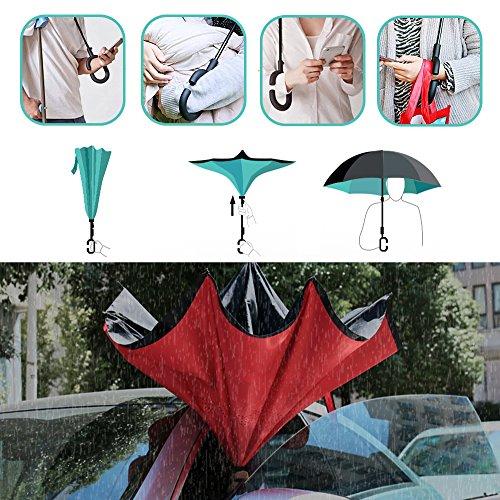 Windproof Double Layer Folding Inverted Umbrella Self
