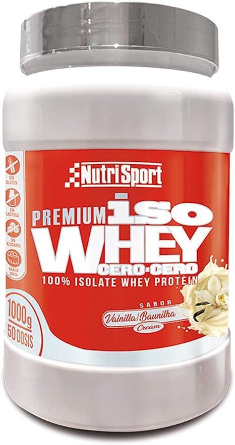 Nutrisport - Iso Whey 0.0 Premium, Proteínas 90% en Polvo, Isoladas, Sin Lactosa, Sin Azúcar, 1Kg, Sabor Vainilla Cream 1000 g