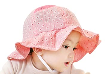 fd4132c5d8b Happy Cherry - Chapeau Bébé Fille Soleil Pêche Outdoor Solaire Plage Bonnet  en Coton Imprimé Fleur