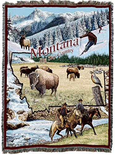 Pure Country Weavers | Montana Woven Tapestry Throw Blanket Cotton 72x54 Cotton USA