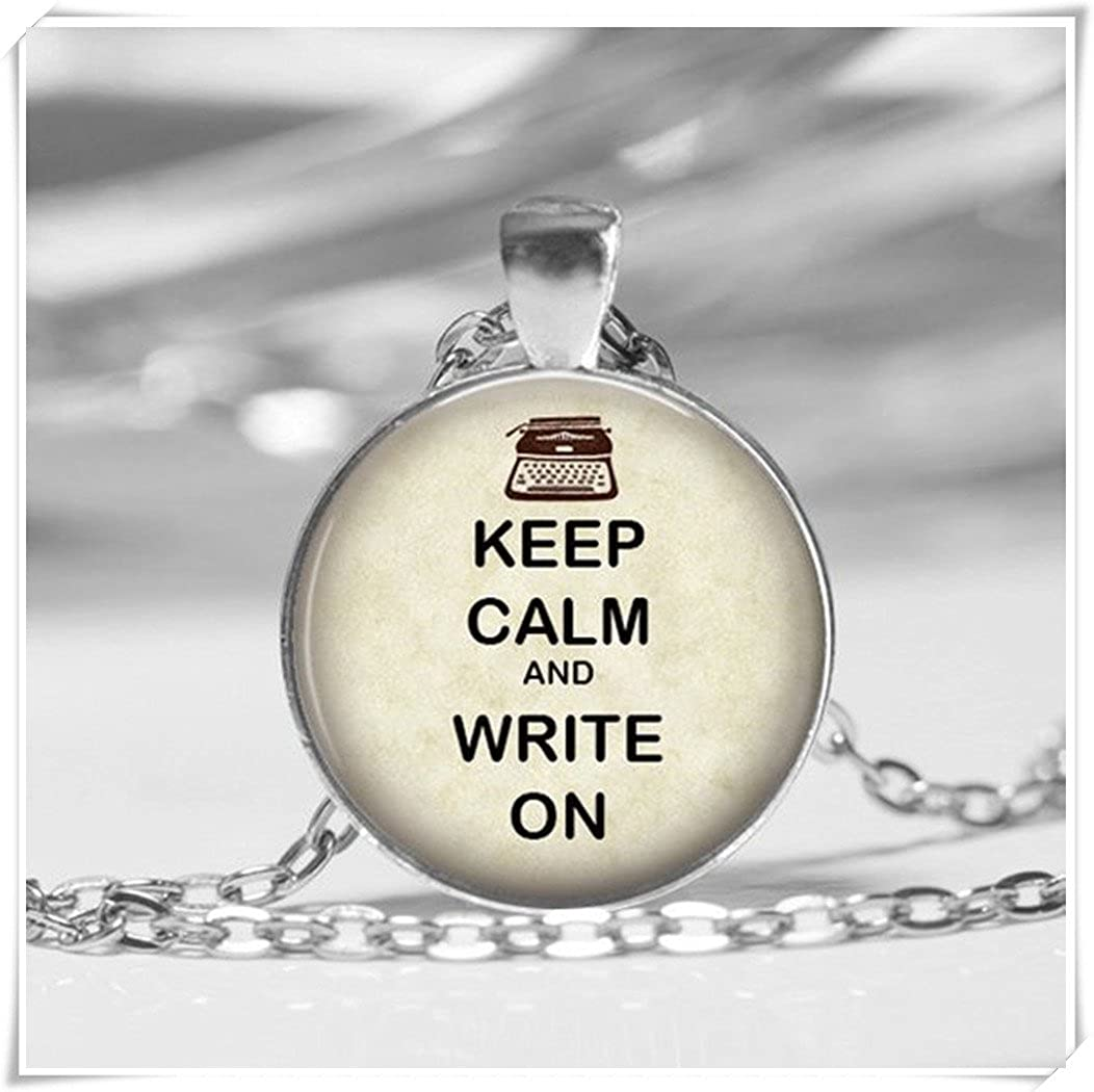 Dandelion Keep Calm,Glass Dome Pendant Necklace,Calm Inspirational,Writers Jewelry,Writing Teacher, Student Gift wish dandelion