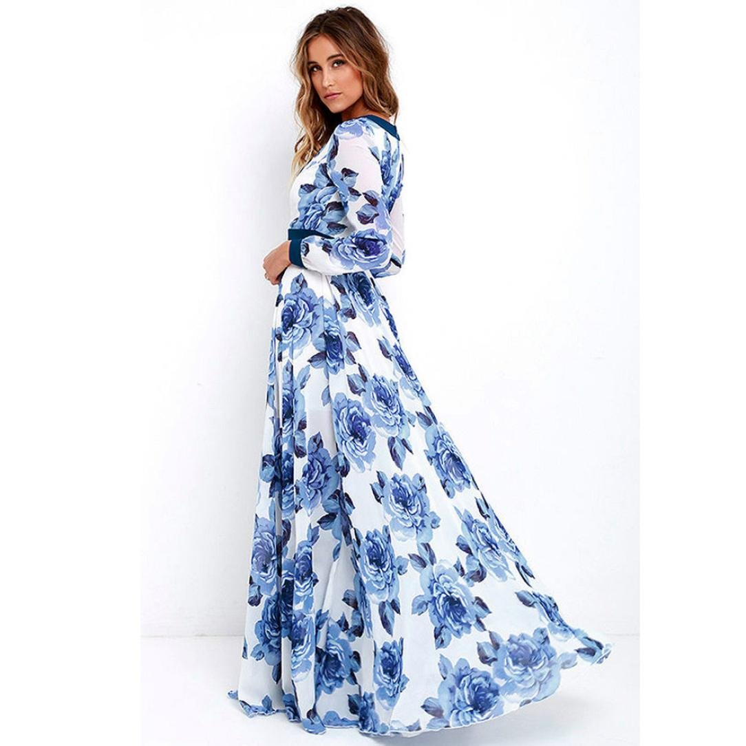 Amazon.com : Ladies Boho Summer Dress, Balakie Off-the-shoulder Long-sleeved Retro Flower Print Maxi Party Long Dresses (L, Blue) : Electronics
