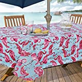 Everyday Luxuries by Newbridge Flamingo Flannel Backed Indoor Outdoor Vinyl Table Linens, 60-Inch by 84-Inch Oblong (Rectangle) with Umbrella Hole and Zipper Tablecloth
