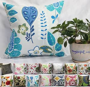 """TangDepot 100% Cotton Floral/Flower Printcloth Decorative Throw Pillow Covers /Handmade Pillow Shams, 14 Color and 10 Size options, Light Black, Peach Blossom, Red Rosebush, Red And Green Leaf, White Magnolia, Fantastic Flowers, Chrysanthemum, Peony, Red And Navy Flower, Blue Floral, Pink Floral, Blue Wheel, Red Wheel, Tree Rings, 12"""" x 12"""", 12"""" x 18"""", 12"""" x 20"""", 14"""" x 14"""", 16"""" x 16"""", 18"""" x 18"""", 20"""" x 20"""", 22"""" x 22"""", 24"""" x 24"""" and 26"""" x 26"""" - (26""""x26"""", S10 Blue Floral)"""