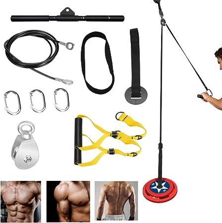 Poleas Sistema Gimnasio para Casa | Fitness Polea Cable Maquina Musculacion Entrenamiento de Fuerza del Brazo | Triceps Accesorio de Entrenamiento ...