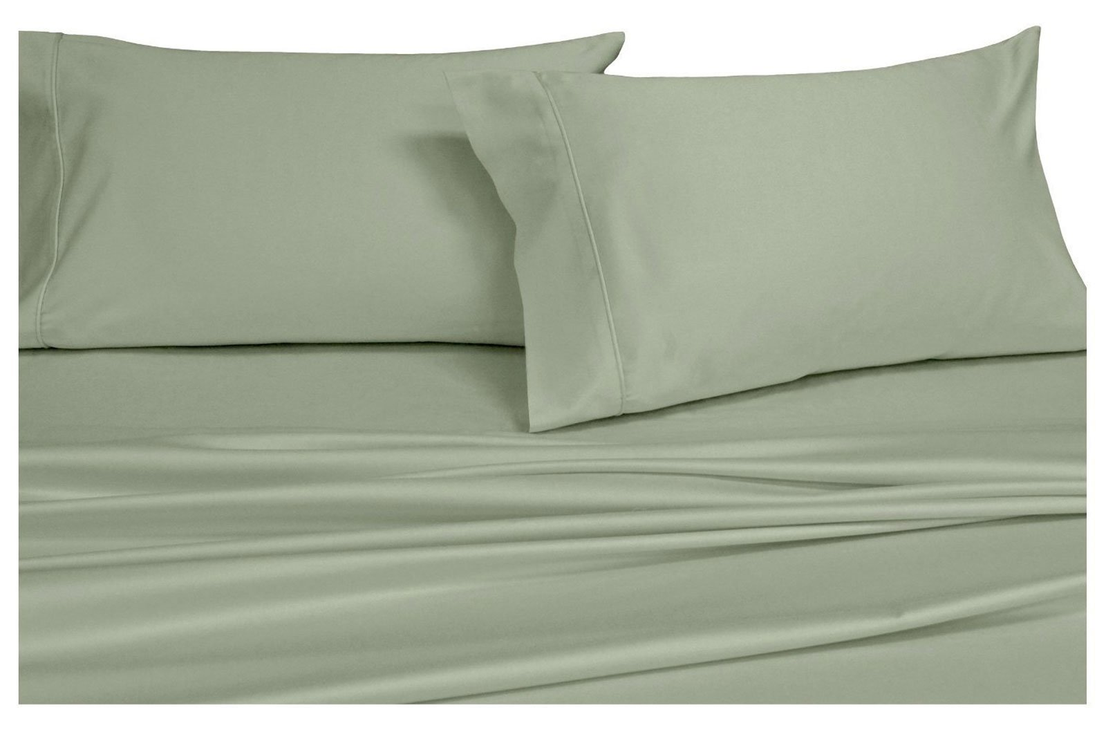 Royal Hotel Solid Sage Twin size 3PC Down-Alternative Comforter Set 650-Thread-Count Cotton-Blend Wrinkle-Free