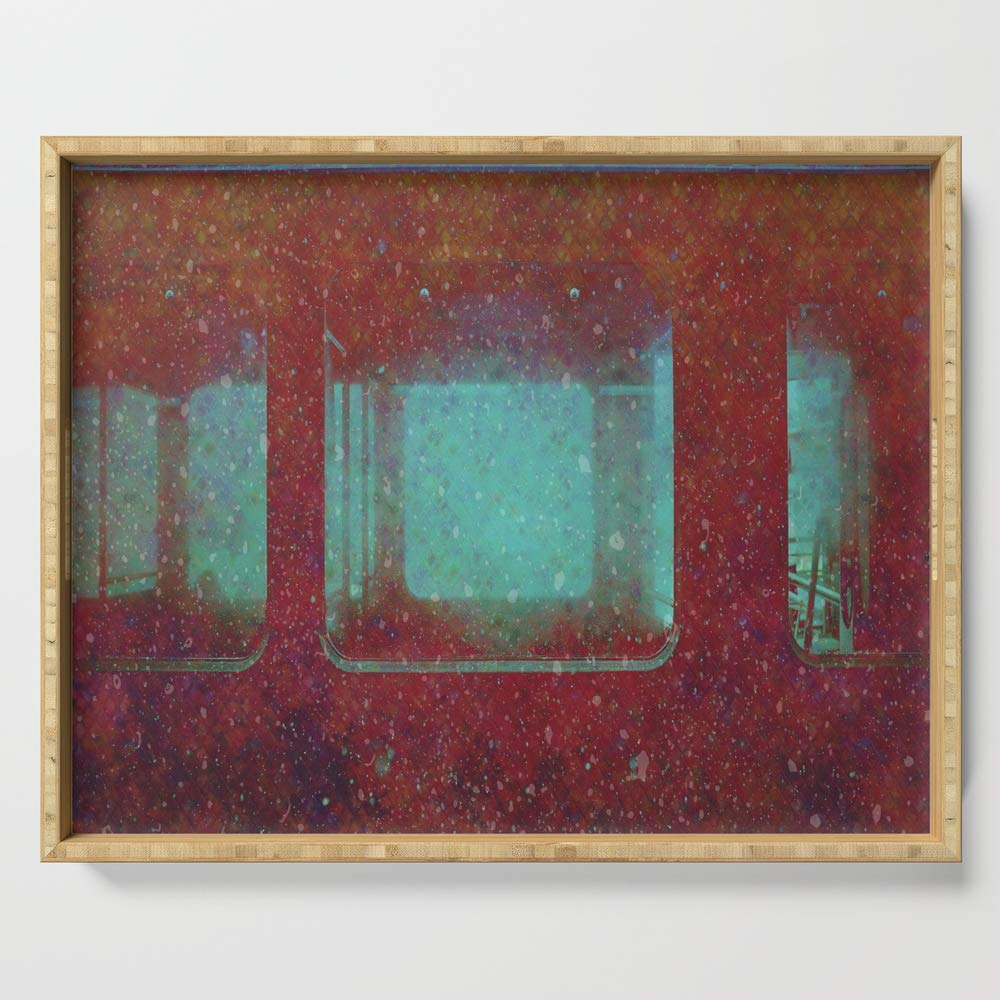 Society6 Serving Tray with handles, 18'' x 14'' x 1 3/4'', Into the City, Structure Windows Grunge by itaya