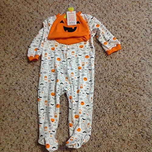 Carter's Just One You Neutral Baby Halloween Pumpkin Ghost Print Sleep N' Play- Orange/White (6 -