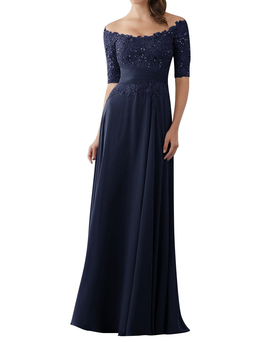 a24352b187f ... Dresses Evening Dresses Mother of The Bride Gowns with Sleeves Lace  Long Chiffon Beaded Navy Blue US16W.   