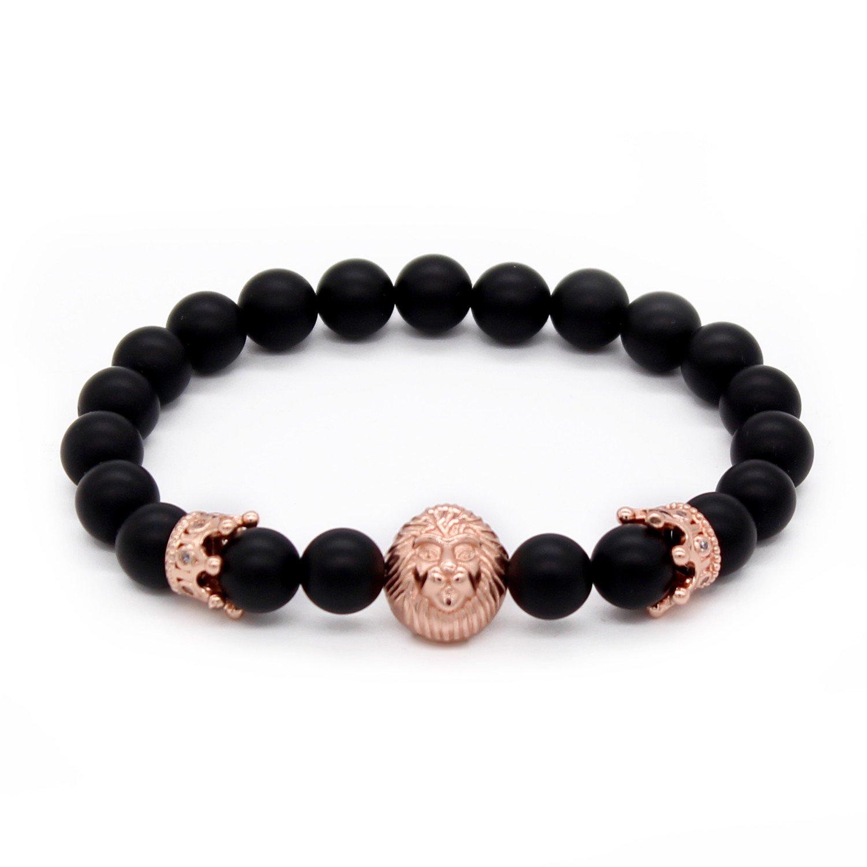 81b1a0cd556b4 POSHFEEL 8mm Black Onyx Stone Beads Gold Lion Head Imperial Crown Bracelets  for Men,7.5