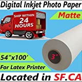 54'' x 100 ft,Professional Premium Digital Inkjet Matte Photo Poster Paper for Eco Solvent,Latex,UV Printer