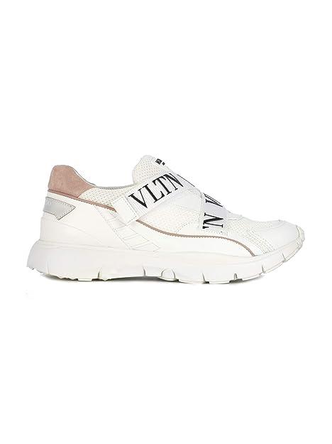 Valentino Mujer QW0S0I92NPWDV6 Blanco Cuero Zapatillas: Amazon.es: Zapatos y complementos