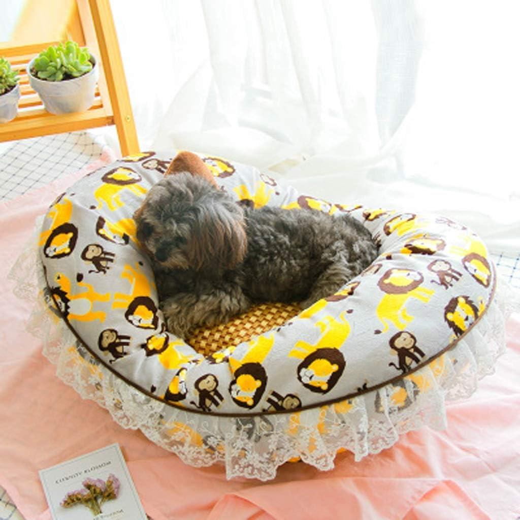WJGRB 完全に取り外し可能で洗えるハート型のかわいいペット用ベッド四季の普遍的なマットの中小ペットの巣のレースの端 pet bed (Color : A) A