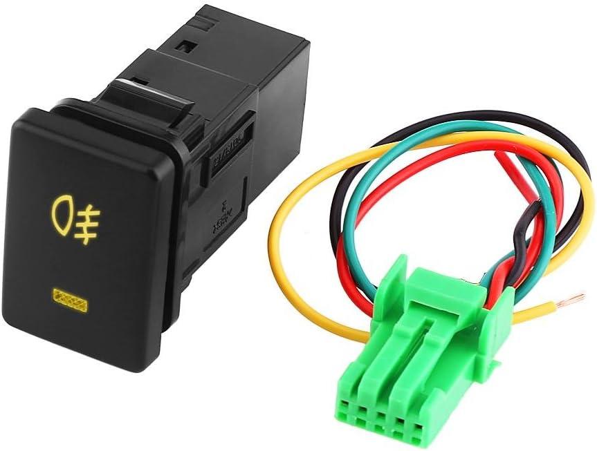 Interruptor de luz antiniebla de 4 cables, Interruptor de botón de encendido/apagado DC 12V Interruptor de luz antiniebla, indicador amarillo
