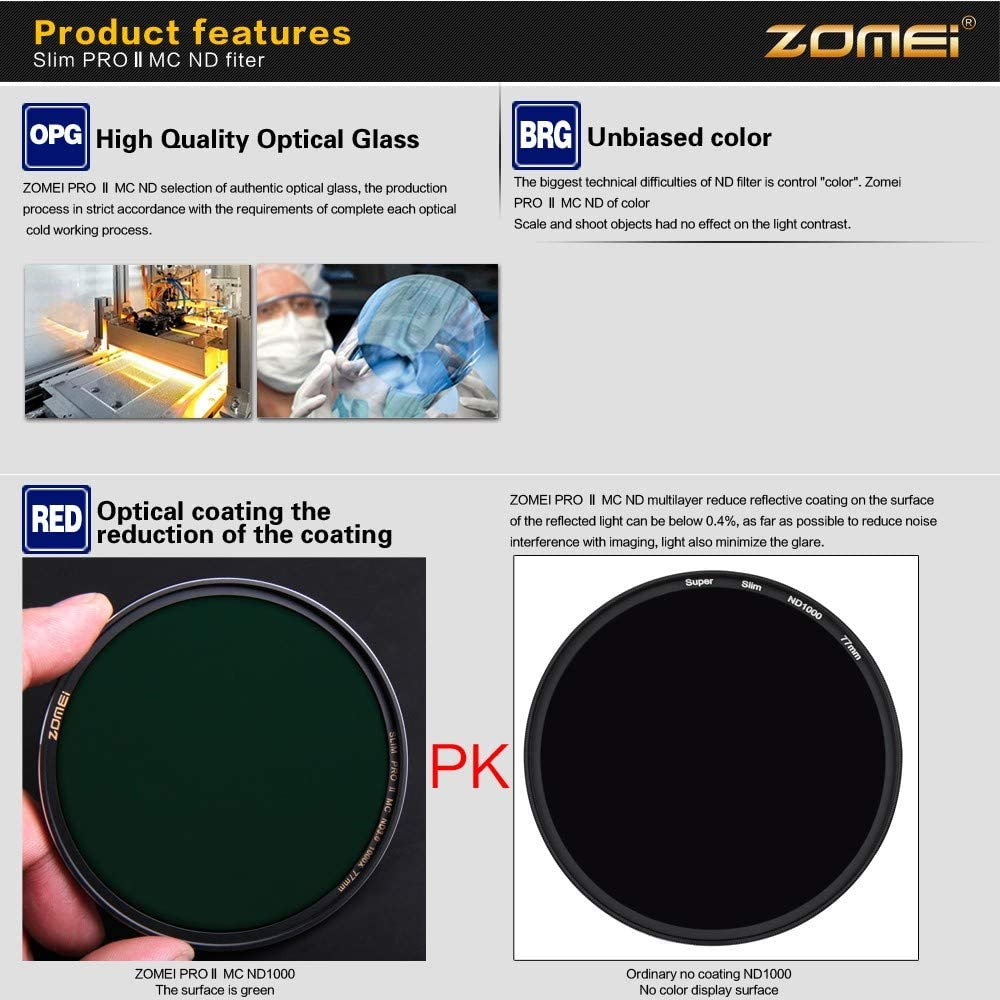 ZOMEI Ultra Slim ND8 Filter Neutral Density Multicoated Optical Glass Filter Edge Sliver Plated 72mm