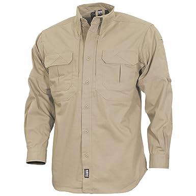 3e63873ae7e8 MFH Men s Strike Tactical Shirt Long Sleeve Khaki  Amazon.co.uk ...