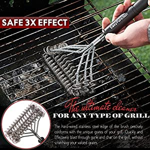 Grill Brush & BBQ Cleaning Scraper - 100% Safe Bristle Free Grill Cleaner - Best Barbecue Brush for Porcelain, Propane, Electric, Infrared, Stainless Steel, Gas, Iron and Weber Grill Grates