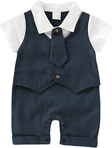 LNGRY Baby Romper,Toddler Newborn Kids Girls Boys Summer Comfortable Solid Color Button Vest Romper Jumpsuit Clothes