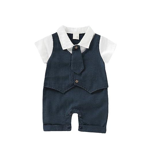 524530ea5b9b Baby Summer Gentleman Romper - GorNorriss Short Sleeve Gentleman Necktie  Tie Solid Print Jumpsuit Black