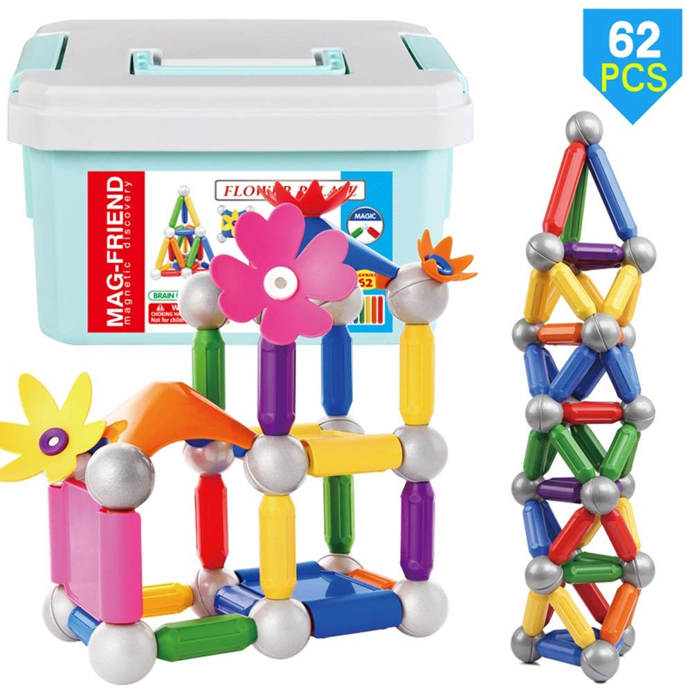 LCLZ 3 Years Old Above Children DIY Puzzle Creativity Toy Magnetic Rod Ball Building Blocks Parent-Child Interactive Construction Stacking Building Block Game Suitable for Boys&Girls 62pcs Novelty