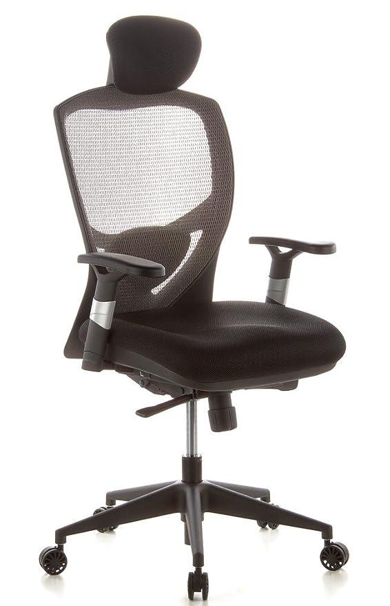 hjh OFFICE 657130 silla de oficina VENUS BASE asiento tejido / respaldo malla gris / negro silla ergonómica