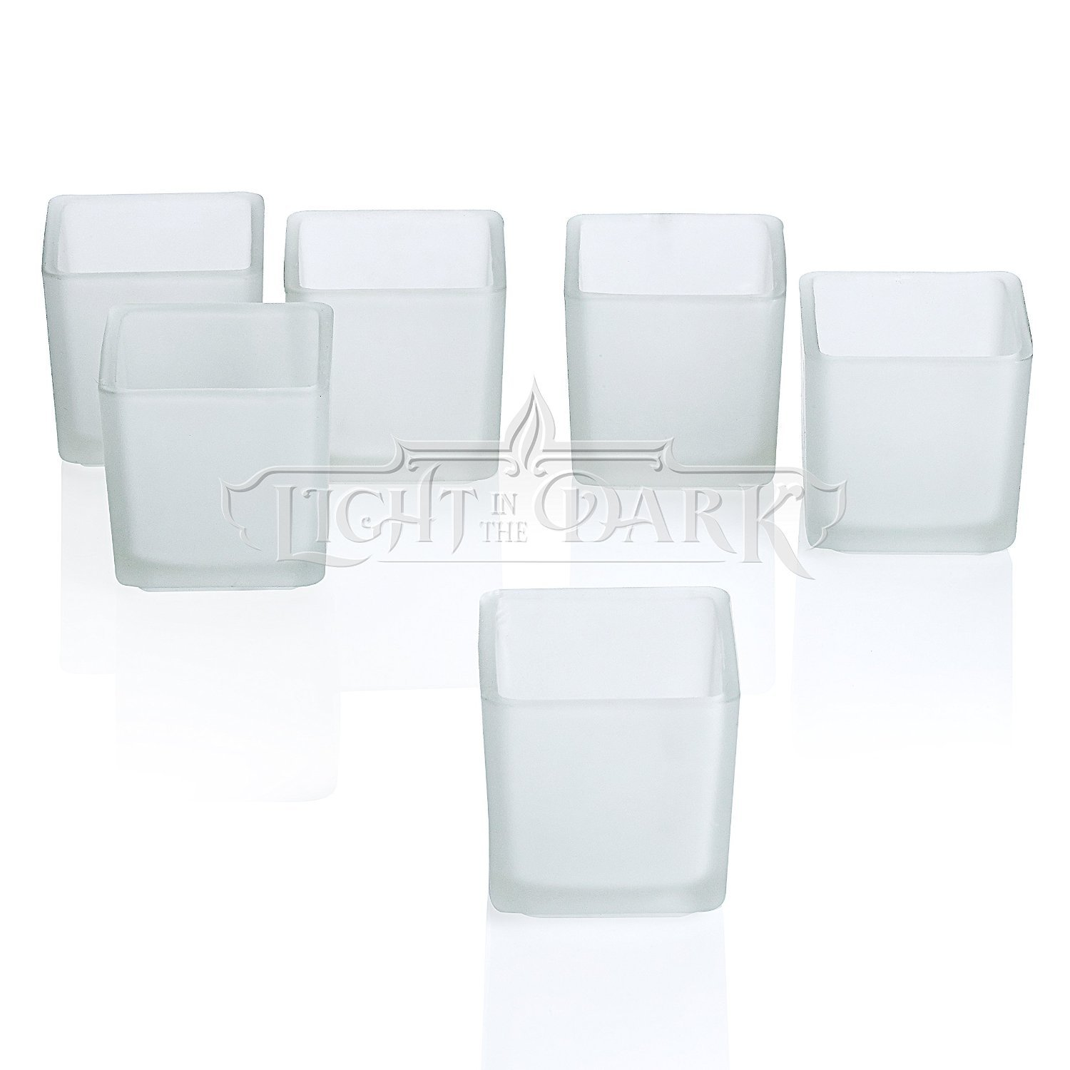 Light In The Dark White Frosted Square Votive Candle Glass Holders Set of 72