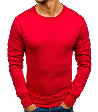 cb45a6442ba MonsieurMode - Pull col Rond pour Homme Pull M125 Rouge - Rouge ...