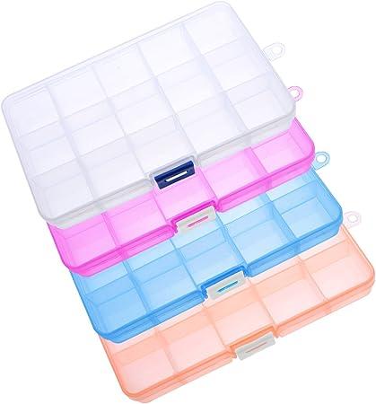 ULTNICE 4 unids Joyería Organizador Caja de Plástico Divisor de Joyas para Washi Tape Marcadores de Maquillaje Arte 15 Cuadrícula: Amazon.es: Hogar