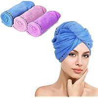 Juego de 3 toallas de microfibra para secado de pelo, muy absorbentes, turbante, secado rápido, con botones, toalla de…
