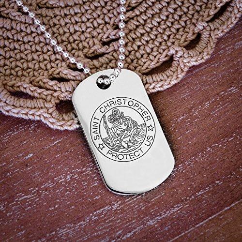 Pendentif Médaille pour Chien gravée Saint Christophe Or blanc massif 9ct dans une boîte cadeau