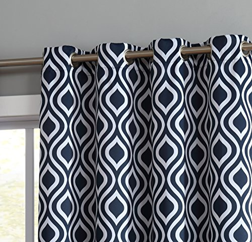 Hanging Curtain Panels (HLC.ME OGEE Trellis Print Blackout Grommet Curtain Panels for Window - 99% Light Blocking - Thermal Insulated Decorative Hanging Pair for Privacy & Room Darkening - Set of 2 (52