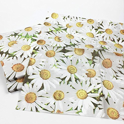 Wicemoon Daisy Dinner Napkins Disposable Decorative Paper Luncheon Napkins for Weeding Dinner Party
