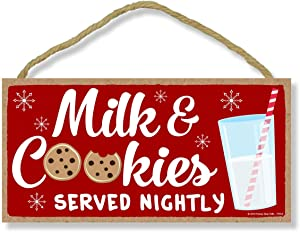 Honey Dew Gifts Milk and Cookies Served Nightly - 5 x 10 inch Hanging Christmas Signs, Wall Art, Decorative Wood Sign, Christmas Decor