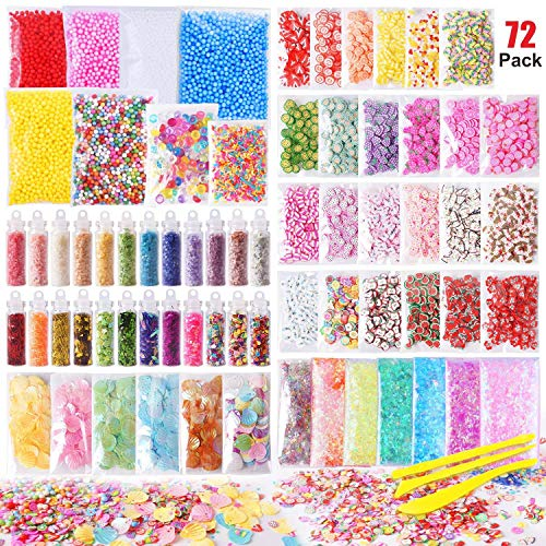 Slime Supplies Kit, 72 Pack Slime Stuff Charms Include Floam Balls, Glitter, Cake Flower Fruit Slices, Fishbowl Beads, Shell, Slime Accessories for DIY Slime Making, Slime Party Decoration -