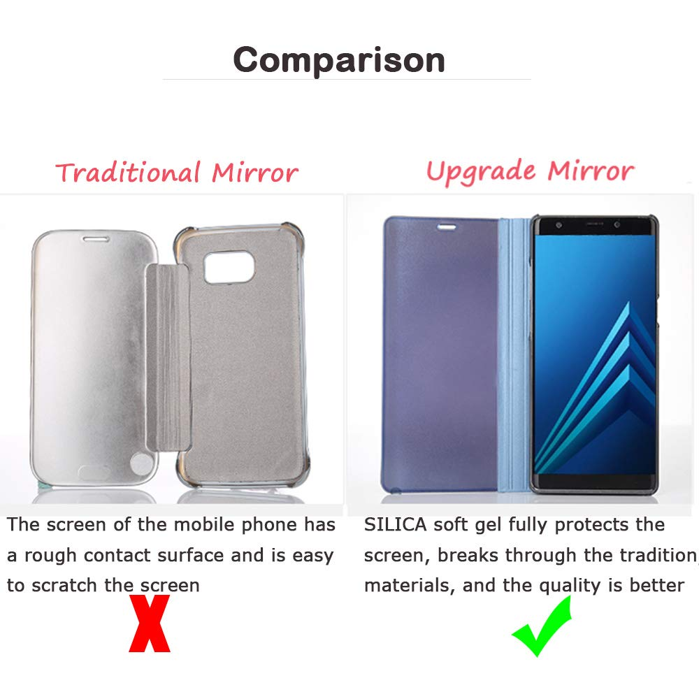 Luxury Electroplate Plating Kickstand Case Smart Clear View Cover with Screen Protector Full Coverage Flexible Film for Apple iPhone 8 Plus//7 Plus- iPhone 8 Plus Silver 7 Plus Mirror Flip Case