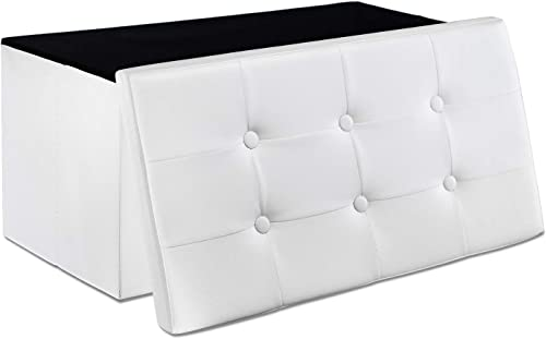 WoneNice 30 Inches Faux Leather Folding Storage Ottoman Bench