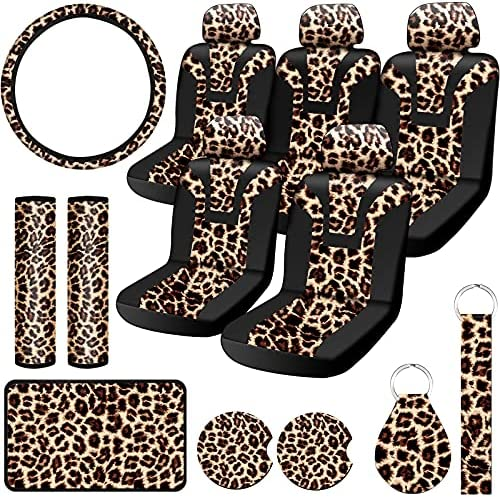 15 Pieces Leopard Print Car Accessories Set, Include Leopard Seat Covers Set, Leopard Steering Wheel Cover, Car Coasters, Armrest Pad Cover, Seat Belt Pads, Keychain and Wrist Strap for Car Decoration